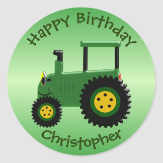 Personalized Green Tractor Birthday Classic Round Sticker