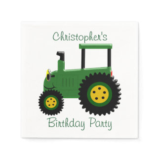Personalized Green Tractor Birthday Napkins
