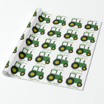 Personalized Green Tractor Birthday Wrapping Paper