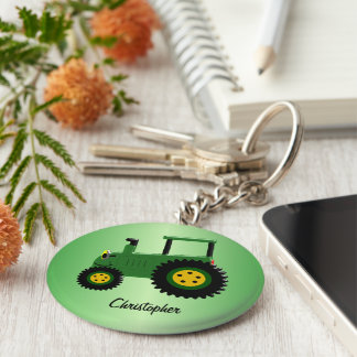 Personalized Green Tractor Keychain