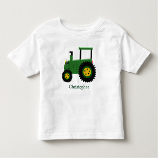 Personalized Green Tractor Toddler T-shirt