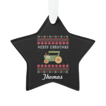 Personalized Green Tractor Ugly Christmas Sweater Ornament