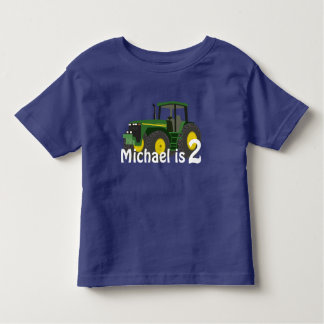 Personalized Green Tractor With Age Toddler T-shirt