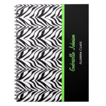 Personalized: Green Trimmed: Zebra Print Notebook