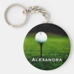 Personalized Green Turf with Golf Ball Keychain
