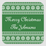 Personalized green UGLY CHRISTMAS SWEATER stickers