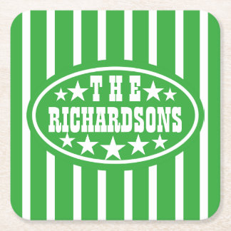 Personalized Green Vintage Carnival Square Paper Coaster
