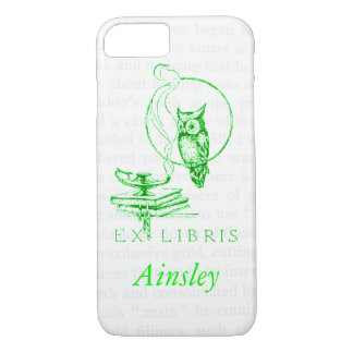 Personalized Green Vintage Owl Collage iPhone 7 Case