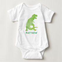 Personalized Green Watercolor Dinosaur Baby Baby Bodysuit