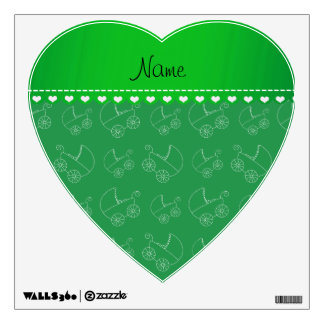 Personalized green white baby carriages wall skins