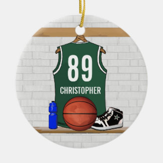 Personalized Green White Basketball Jersey Ceramic Ornament