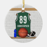 Personalized Green White Basketball Jersey Ornament