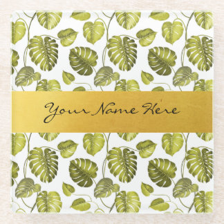 Personalized Green & White Monstera Palm Leaves Glass Coaster