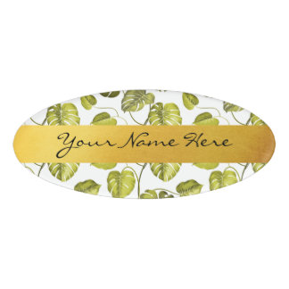 Personalized Green & White Monstera Palm Leaves Name Tag