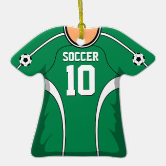 Personalized Green White Soccer Jersey 10 V1 Christmas Tree Ornament