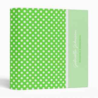 Personalized: Green With White Polka Dot Binder