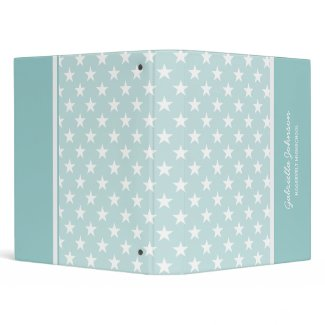 Personalized: Green With White Stars Binder