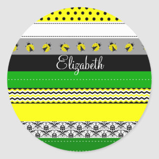 Personalized Green Yellow Black White Washi Tape Classic Round Sticker