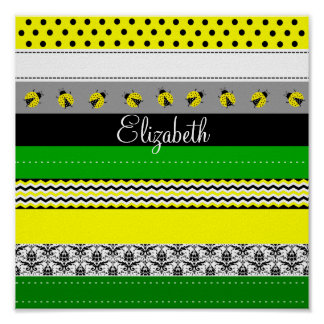 Personalized Green Yellow Black White Washi Tape Poster