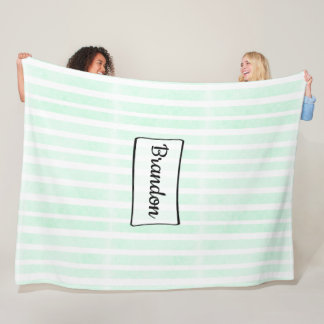 Personalized greenand white Striped Fleece Blanket