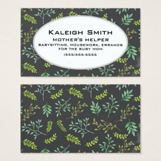 Personalized Greenery on Black Mother's Helper Business Card