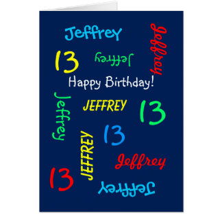 Personalized Greeting Card 13th Birthday, Blue