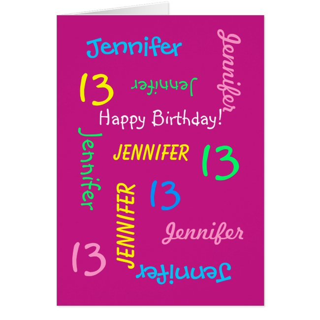 Personalized Greeting Card 13th Birthday, Pink