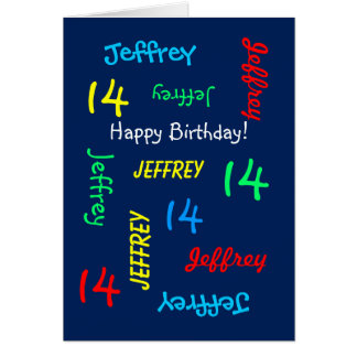 Personalized Greeting Card 14th Birthday, Blue
