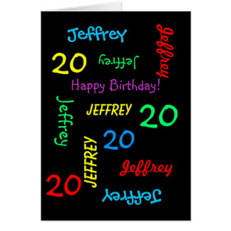Personalized Greeting Card, 20th Birthday Black Card
