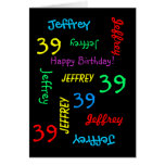 Personalized Greeting Card 39th Birthday, Black