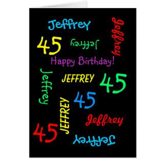 Personalized Greeting Card 45th Birthday, Black