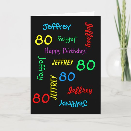 Personalized Greeting Card Black 80th Birthday