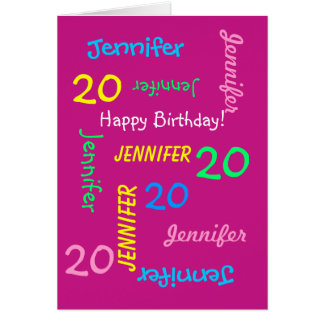 Personalized Greeting Card Name 20th Birthday Pink