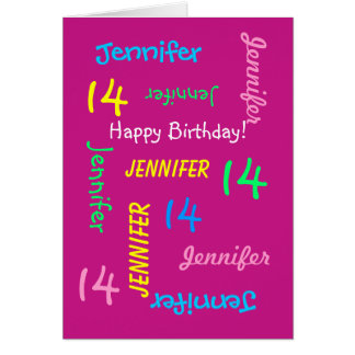Personalized Greeting Card, Pink, 14th Birthday Card