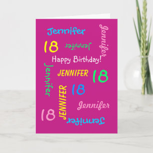 Personalized Greeting Card Pink 18th Birthday