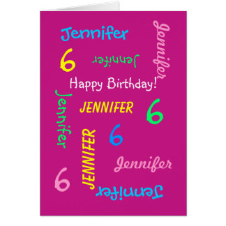 Personalized Greeting Card, Pink, 6th Birthday Card