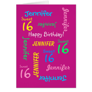 """Personalized Greeting Card, """"Sweet 16"""" Card"""