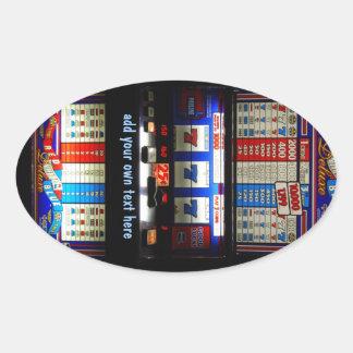 Personalized Greeting Casino Slot Machine Oval Sticker