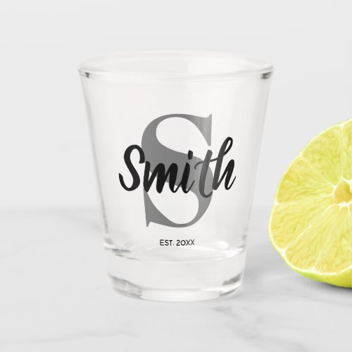 Personalized Grey and Black Family Monogram Shot Glass