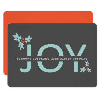 Personalized Grey and Orange Joy And Holly Card