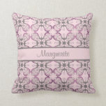 Personalized Grey and Pink Geometric Damask Throw Pillow