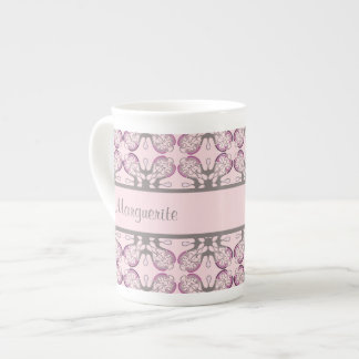 Personalized Grey and Pink Geometric Damask Tea Cup