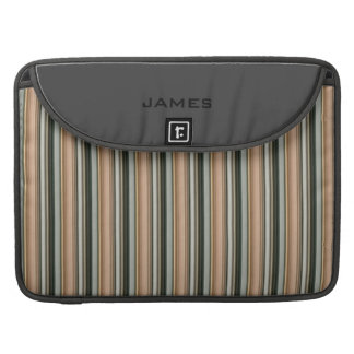 Personalized Grey and Tan Striped MacBook Sleeve