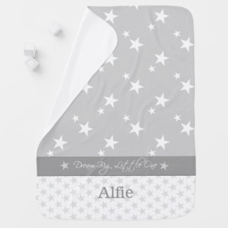 Personalized grey and white stars baby stroller blanket