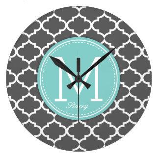 Personalized grey & blue Quatrefoil with Monogram Large Clock