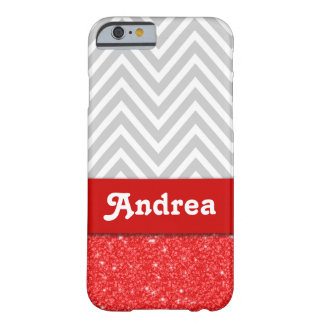 Personalized Grey Chevron Red Printed Glitter Barely There iPhone 6 Case