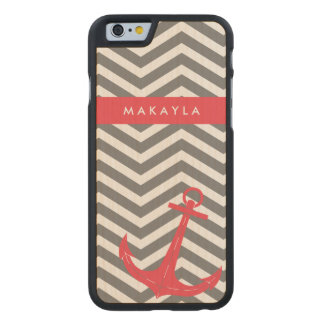 Personalized Grey Chevron with Anchor Carved® Maple iPhone 6 Case