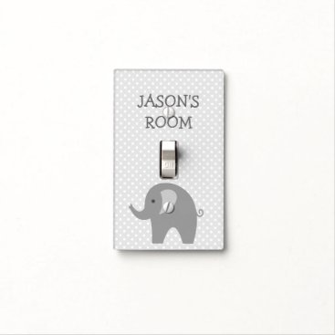 Toddler & Baby themed Personalized grey elephant light switch cover