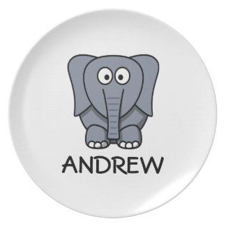 Personalized Grey Elephant Toddler Plate