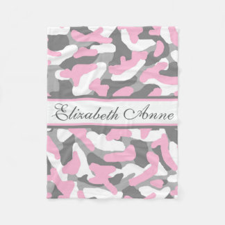 Personalized Grey Gray Pink Camo Camouflage Fleece Blanket